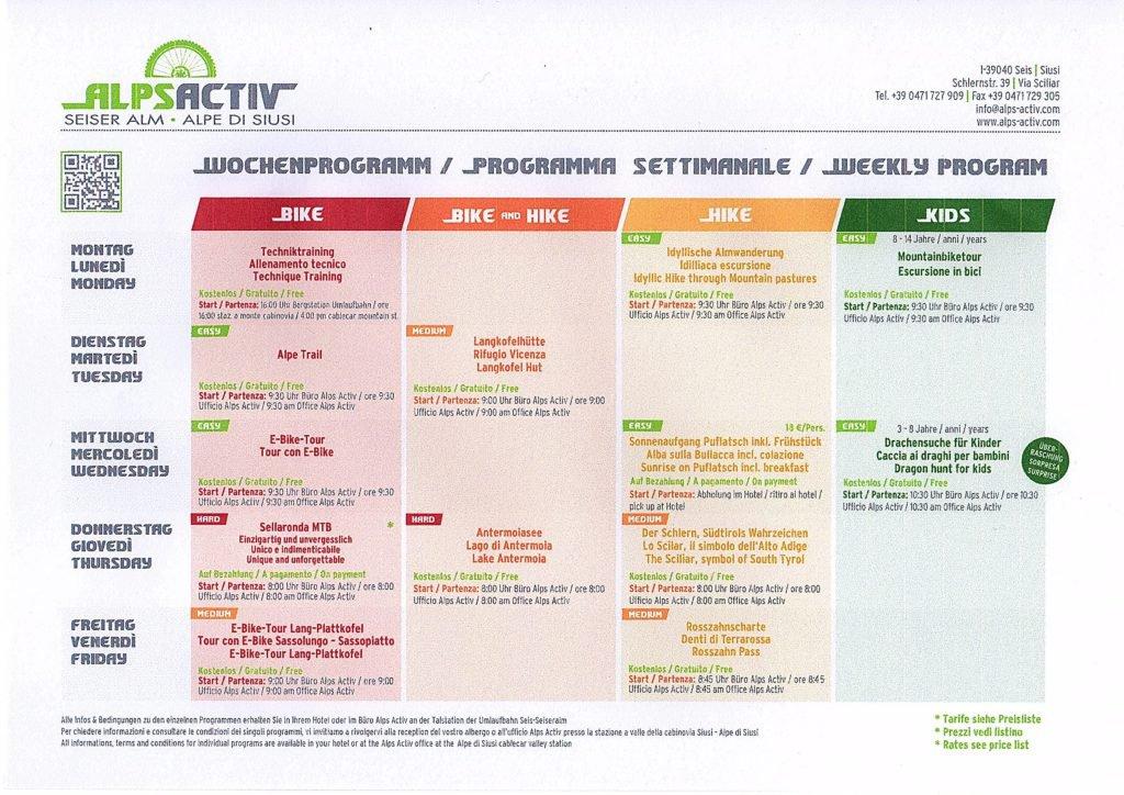 AlpsActiv Wochenprogramm
