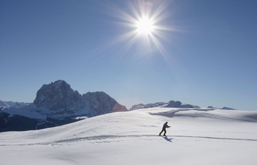 Perfect conditions: cross-country skiing on the Alpe di Siusi